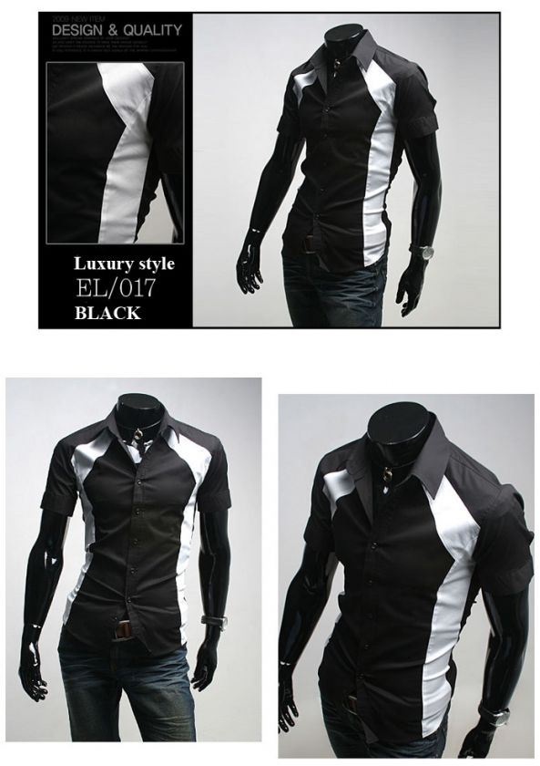 Mens casual dress shirt slim fit design Black M